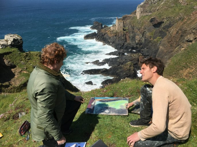 Jack Davis teaching the Expressive Landscape outdoor painting course at Newlyn School of Art, Cornwall