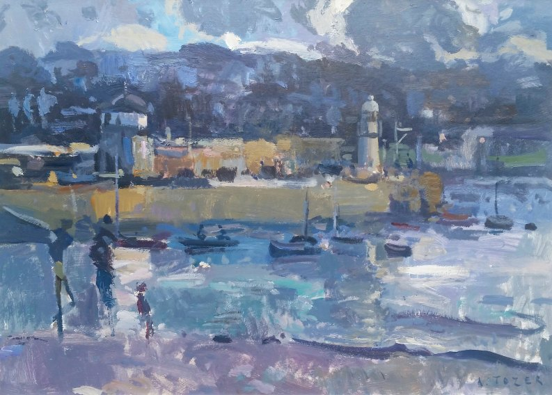 Painting by Andrew Tozer artist Towards Smeatons Pier, St Ives
