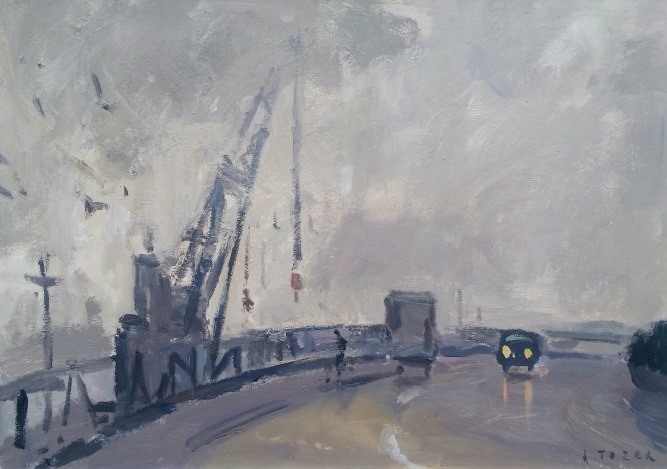 Painting by Andrew Tozer artist Falmouth Cranes