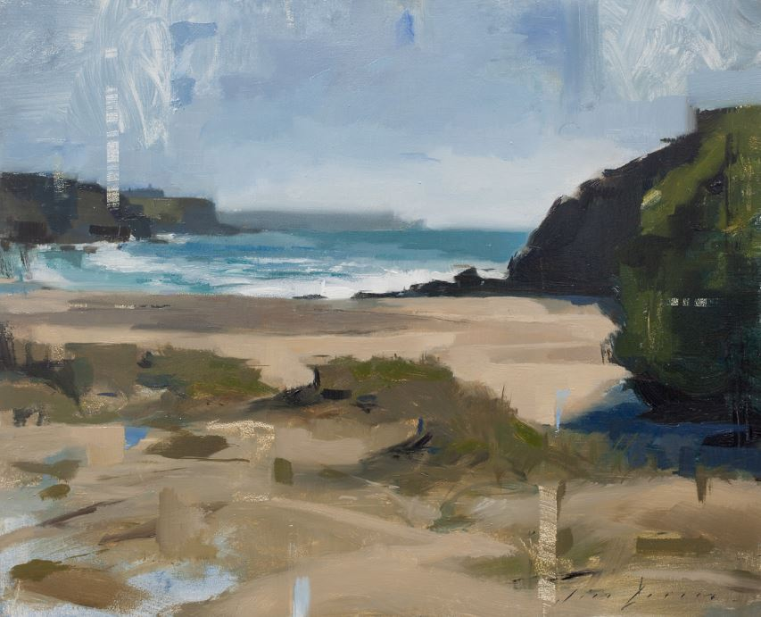 Church Cove on a Windy Day painting by artist Jon Doran Cornwall