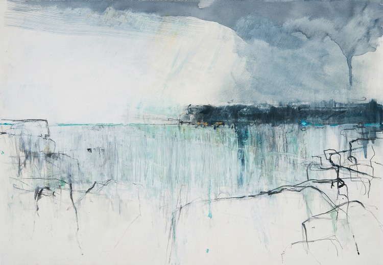 Painting by Hannah Woodman artist Rain Passing Headland Cornwall