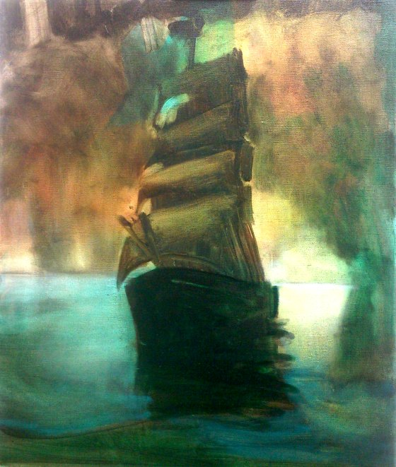 Painting by Louise Thomas artist Simulated Barque