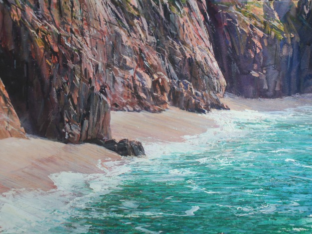Painting by Paul Lewin artist Pedne Beach Cornwall