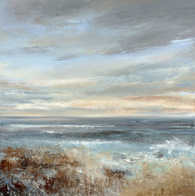 Painting by Amanda Hoskin artist, Salty Spray Disappears into the glistening rocks, Cornwall