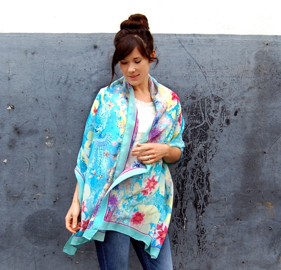 Silk Wrap by Claire Armitage Textile Designer Cloud Lily Wrap