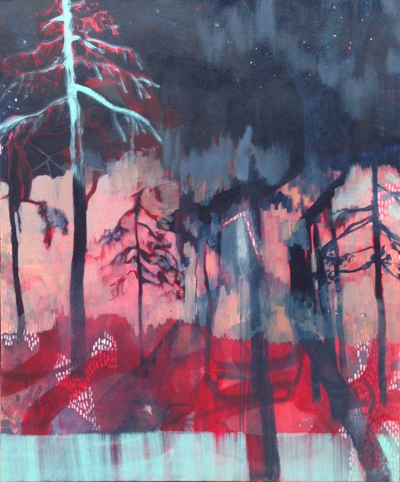 Painting by Faye Dobinson artist Under a Pine Tree in North Carolina